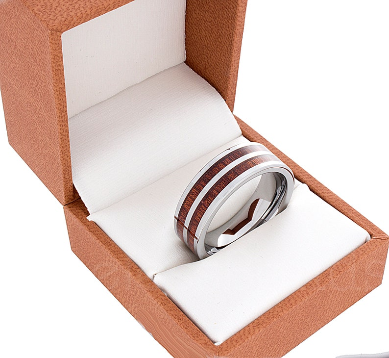 Tungsten Ring 8mm Silver Double Wood Inlay Polished Flat Ring Wedding Ring Mens Womens Wedding Band Tungsten  Anniversary Wedding Ring