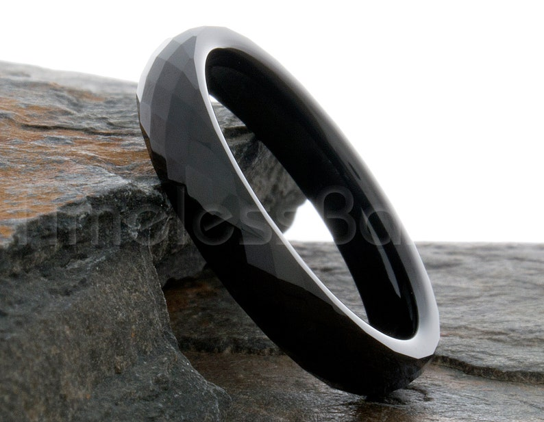 Tungsten Ring 4mm Black Faceted Domed Ring Tungsten Wedding Ring Mens Womens Wedding Band Anniversary Wedding Personalized Laser Engraving