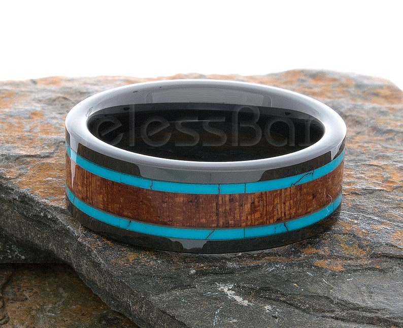 Tungsten Ring 8mm Black Wood Turquoise Inlay Polished Flat Ring Wedding Ring Mens Woman Wedding Band Tungsten  Anniversary Wedding Ring