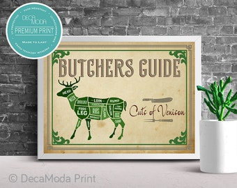 venison cuts print, venison diagram, the butchers guide, venison guide,  premium print, cuts of meat print, venison cuts, venison meat cuts