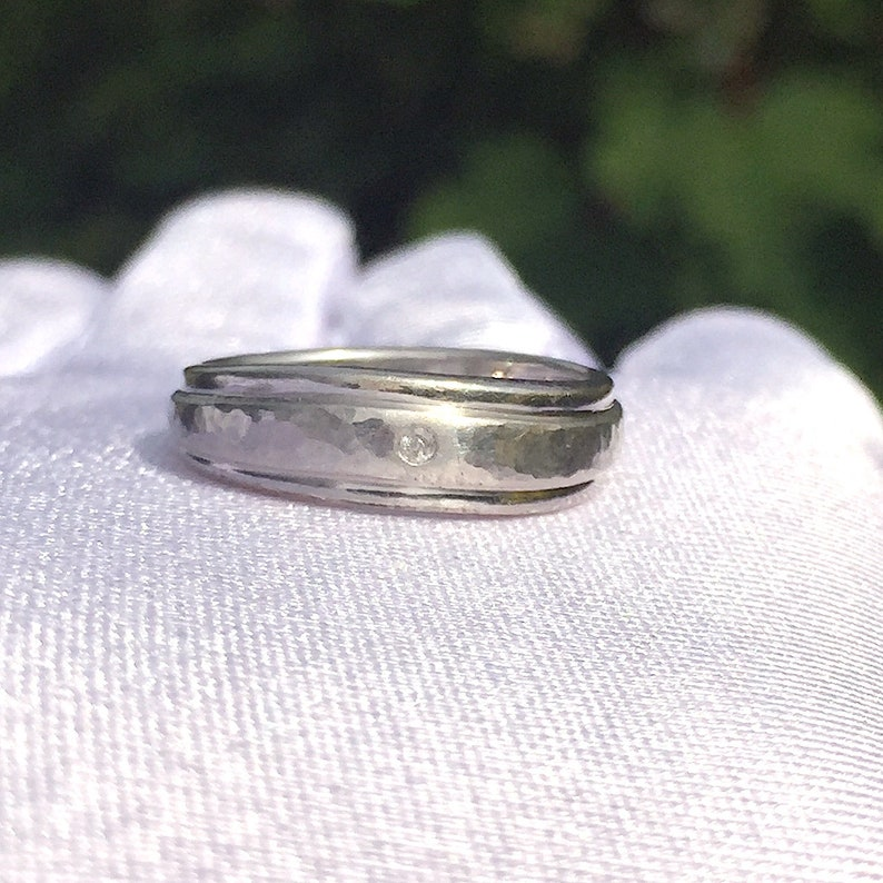 Hammered Silver Ring Diamond Band Boho Rings Vintage Silver Ring Band Sterling Silver UK size O US 7 Silver Band Jewellery Jewelry