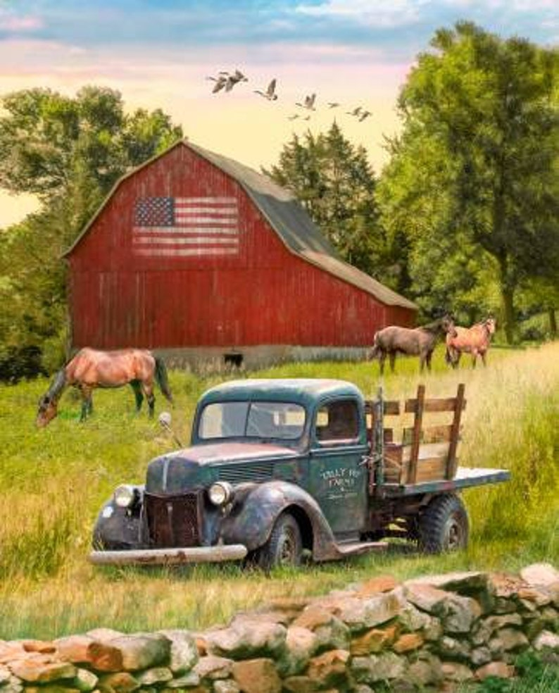Sold in 44 x 34 12 Sections Truck Barn Horse Panel by David Textiles