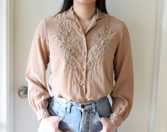 8e0d256de658f Vintage 80s embroidered taupe silk button up blouse