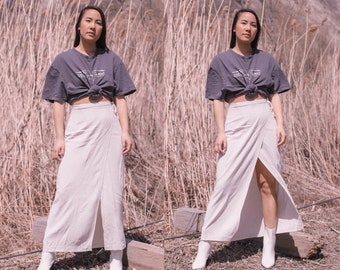 d9ea2604993f Vintage 90s high waisted white and taupe gingham wrap maxi midi skirt