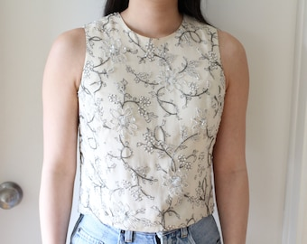 Vintage silk floral cream silver grey beaded and sequin sleeveless embroidered top