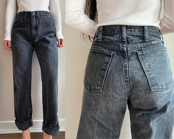Vintage Black 90s High Waisted Rustler Mom Jeans W