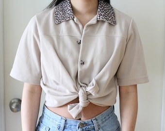 Vintage leopard collar short sleeve blouse; light dusty pink neutral, taupe beige, trendy and cute