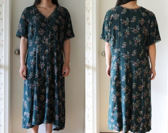 Vintage 80s forest green floral maxi dress; boho, bohemian, festival style
