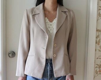 Vintage 80s taupe beige slightly oversize button front blazer, overcoat, jacket