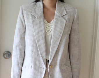 Vintage 80s lilac and taupe oversize woven linen blazer, overcoat, jacket; feminine, classic, girly style