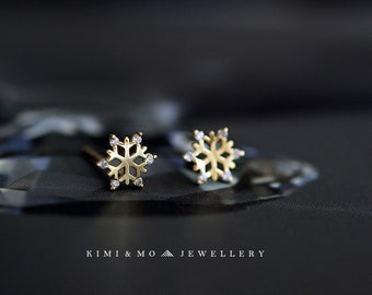 a45f18c33 Snow Flake Zircon Diamond Stud Earrings// Sterling Silver Gold Plated Studs  // Minimalist Earrings//Gift//Gift for Her//Birthday Gift