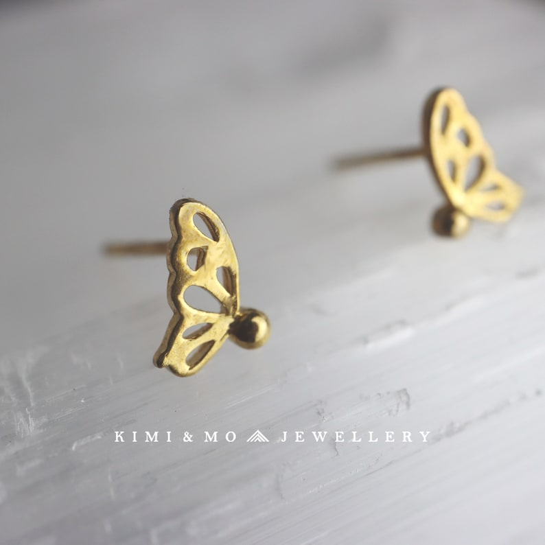 Mini Gold Butterfly Minimalist Stud Earring**Tiny Butterfly Earring**Geometric Earrings**Everyday Stud**Bridesmaid Gift for Her**Unique Gift