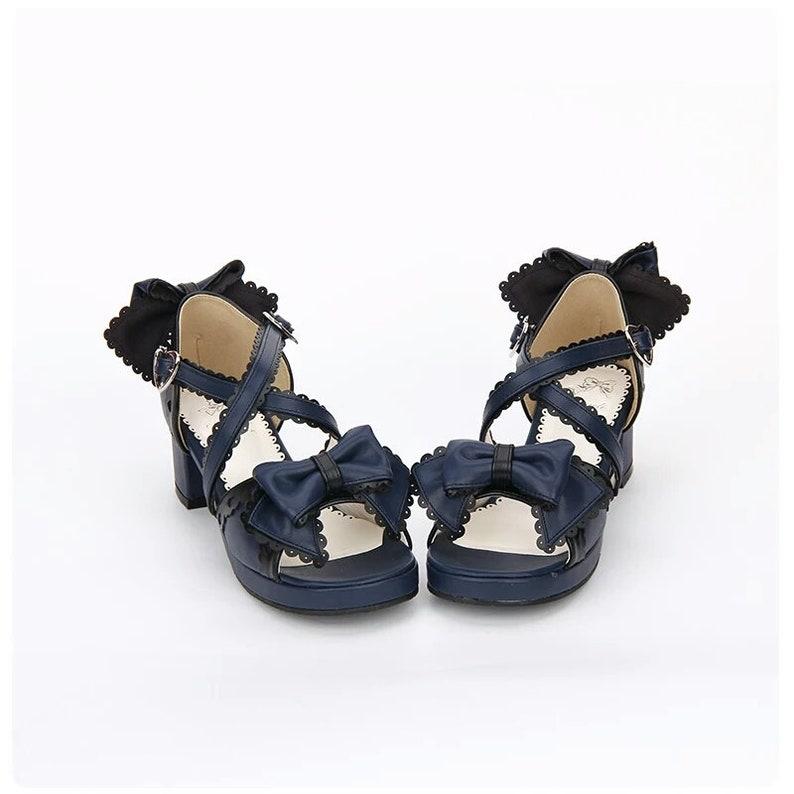 3d808ba0dd Navy Shoes Sweet Bowtie Lace Trim Criss Cross Chunky Heel | Etsy