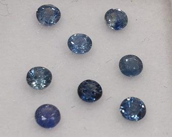 100 Piece Lot 1MM Natural Blue Sapphire Round Diamond Cut Gemstone