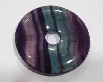 Natural Gemstone Fluorite Donut Circular Smooth Pendant 40mm