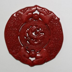 Natural red jade carved tiger amulet pendant E128