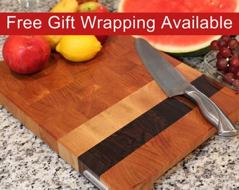 End Grain Cutting Board, Butcher Block with Feet and Handles, Handmade from Cherry with Walnut and Maple stripes