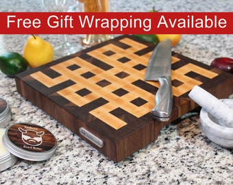 End Grain Cutting Board, Square Butcher Block with Feet and Handles, Handmade from Walnut and Maple, Celtic Knot Pattern