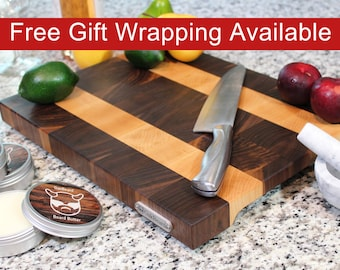 Large End Grain Cutting Board, Butcher Block with Feet and Handles, Handmade from Walnut with Maple Stripes.
