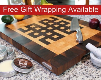 Large End Grain Cutting Board, Butcher Block with Feet and Handles, Celtic Knot Pattern, Handmade from Walnut and Maple