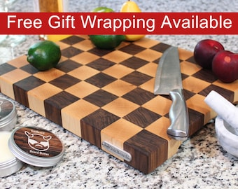 End Grain Cutting Board, Butcher Block with Feet and Handles, Checker Pattern, Handmade from Walnut and Maple