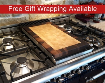 Griddle Cover End Grain Cutting Board, Butcher Block, Handmade from Walnut and Maple, Personalization and Custom Engraving
