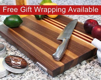 Large Cutting Board, Cheese Tray and Charcuterie Board with Feet,Walnut with Maple and Padauk accent stripes