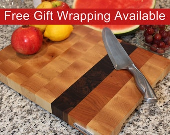 End Grain Cutting Board, Butcher Block with Feet and Handles, Handmade from Maple with Walnut and Cherry stripes
