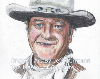 Original Color Pencil Drawing of John Wayne, The Duke
