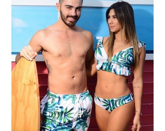 2da5765fec Matching swimsuits, swimsuits for couples, men trunks, couples swimsuit,  couples matching set, couples gift