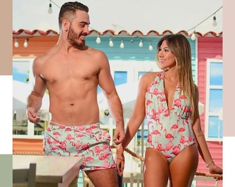 4342a1daf5 Matching swimsuits, swimsuits for couples, men trunks, couples swimsuit, couples  matching set, couples gift