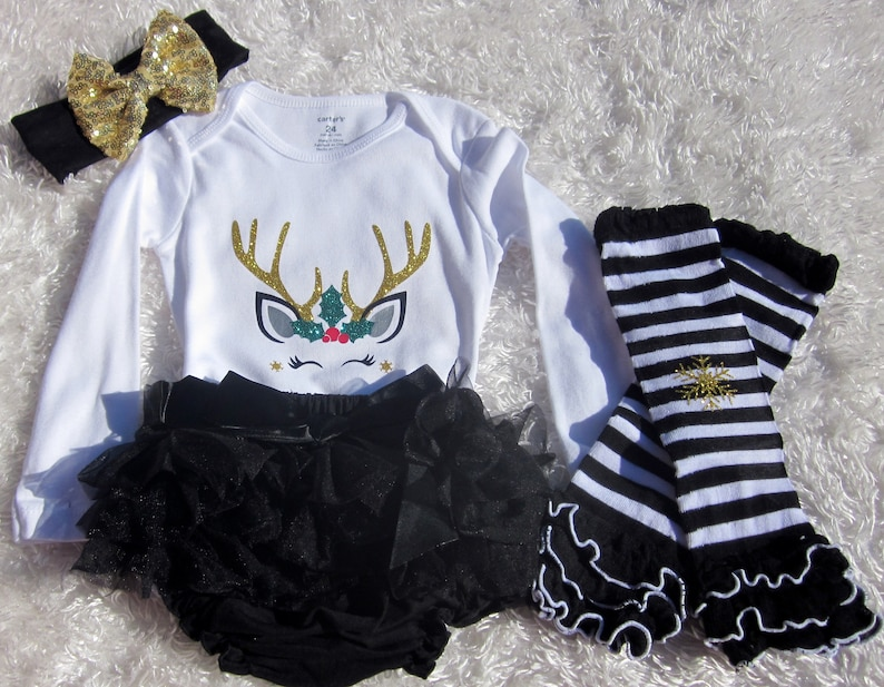 9c361b1d45475 Christmas Reindeer Girls outfit Christmas outfit Baby Girl   Etsy