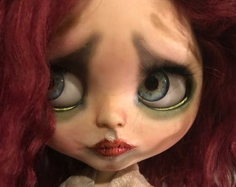 OOAK custom Blythe doll Ella with mohair