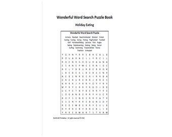 Holiday Eating Word Search Puzzle Book Printable Seek Find Sleuth Hidden Games Solve PDF Play English Vocabulary