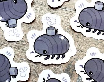 Bug with a Mug Sticker / Pill Bug / Rolly Polly / Cute Bug Invertebrate Stickers