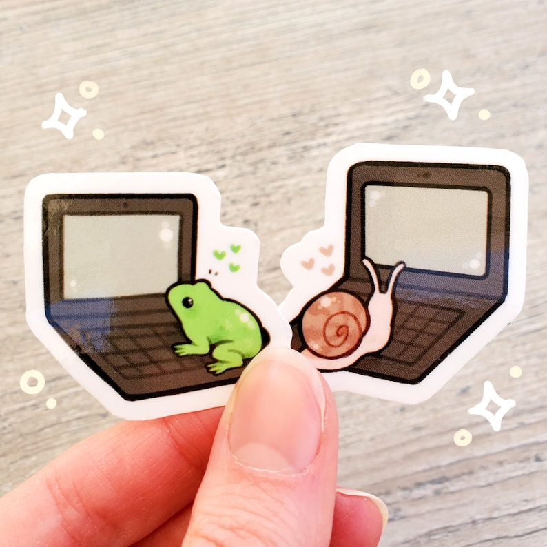 Mini Pen Pal Sticker Set of 2 / Frog with a Blog Sticker / image 0