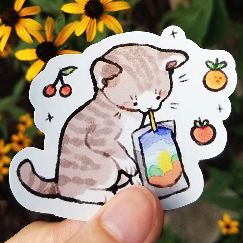 Cat-prisun Sticker / Cat Sticker / Kitten Sticker / Animal image 0