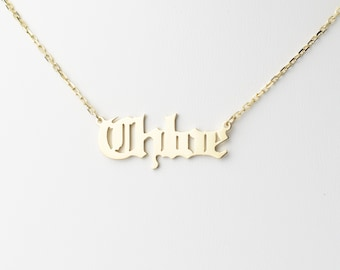 67ee861ba Old English Letter Name Necklace, Custom Name Necklace Choker, Gift For Her,  Bridesmaid Gift, Gold or Silver - Made in New York