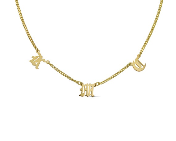 Old English Letter Necklace Old English Jewelry Gothic Style Necklace for Her Letter D Gold Dainty Old English Initial Necklace