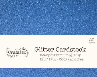 Marine Glitter cardstock,  deep blue glitter cardstock, heavy glitter cardstock, 12x12, 20 sheets, Crafasso, craft supplies,
