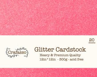 Hot pink Glitter cardstock,  deep pink glitter cardstock, heavy glitter cardstock, 12x12, 20 sheets, Crafasso, craft supplies,