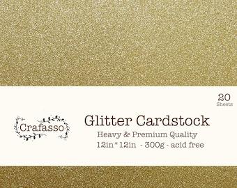Gold Glitter cardstock,  yellow glitter cardstock, heavy glitter cardstock, 12x12, 20 sheets, Crafasso, craft supplies,