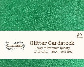 Green Glitter cardstock,  grass glitter cardstock, heavy glitter cardstock, 12x12, 20 sheets, Crafasso, craft supplies,