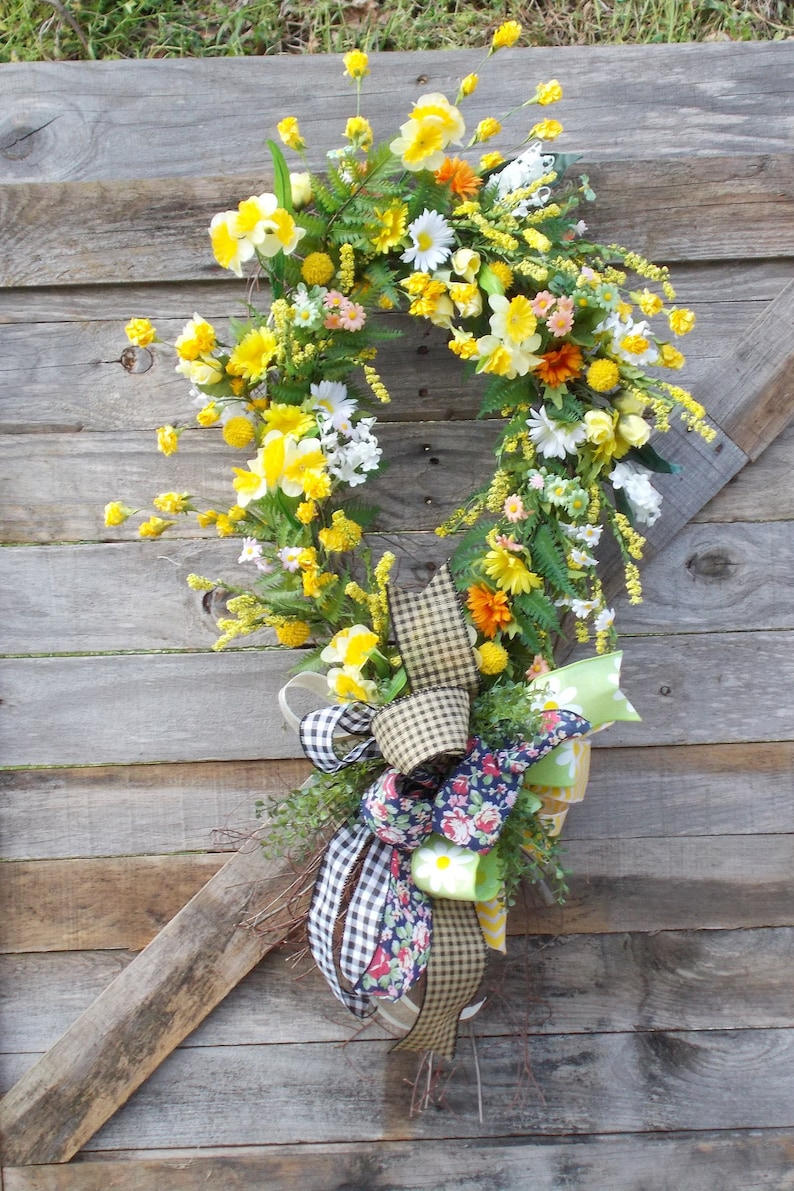 Awareness Ribbon Shaped Wreath Grapevine Wreath Yellow Etsy