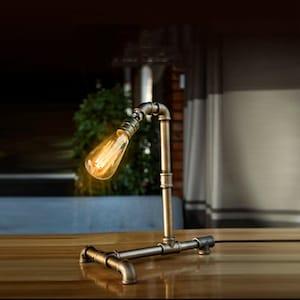 LamppoDesign Unique Robot Pipe Desk LampIndustrial Handmade Bedside LightVintage Table Lamp for ManHousewarming Gift