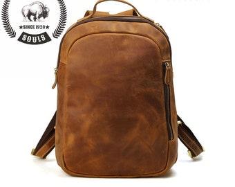 Large Bison Hide Leather Outdoor Backpack Laptop Bag