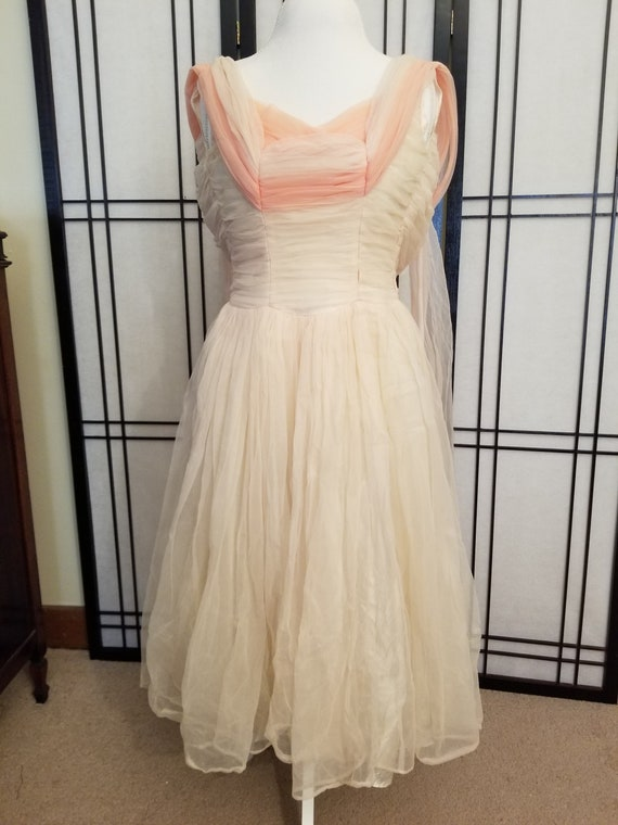 1950s Blush and Pink Tulle Prom Dress