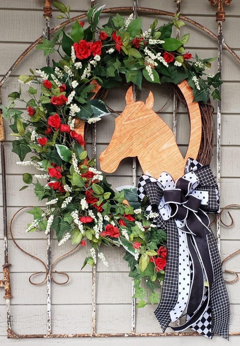 Horse Wreath Horse Head Wreath Kentucky Derby Decorations Etsy