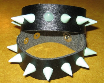 Leather Wristband with Mint Blue Studs