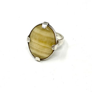 Cocktail Ring Sterling Silver Arco Tube Agate With Beaded boarder